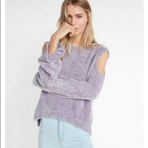 Express Chenille Cold Shoulder Sweater Bell Sleeve